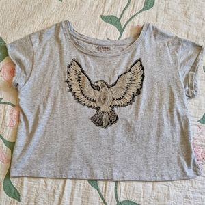 Shyanne Distressed Neckline Thunderbird Crop Tee